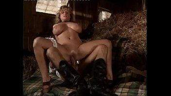 Fantastic blond with giant wobblers group-fucked in a barn with a double penetration