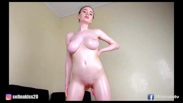 Hawt sexy stripped cutie ideal melons and body fingering her juicy love tunnel