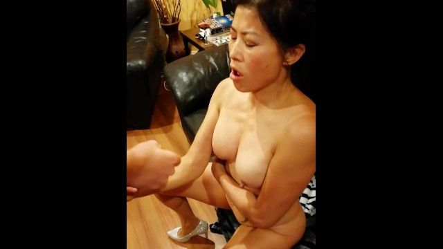 Chinese american mamma taking biggest spunk fountain from large white jock