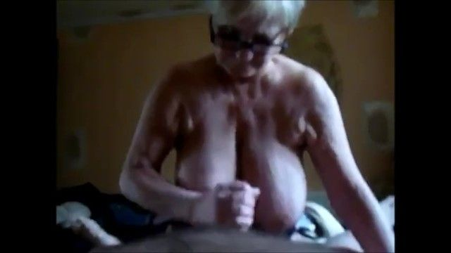 Cook jerking giant breast granny and cum on melons
