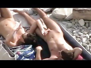 Stripped beach - great tease, blow cook jerking