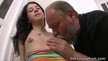 Olga has her titties licked by aged lad