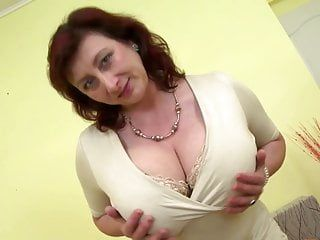 Beautiful older mother with giant mambos and consummate older